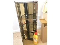 Stainless Steel Mirrored Corner Bathroom cupboard, reversible, slight blowing of mirror in 1 corner