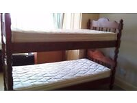 Bunk Beds with Silent Night Mattresses - Mahogany colour