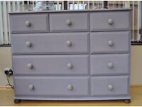 Large, solid pine chest of drawers