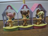 Littlest Pet Shop Cute Horses, Monkeys and Parrots with Shelter and Stands