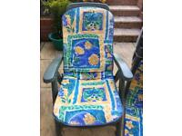 PAIR OF 5 x POSITION FOLDING RECLINING GARDEN CHAIRS WITH CUSHIONS. RRP £35 each