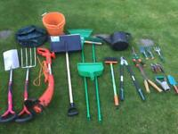 Gardening equipment package with spade, fork, strimmer, loppers