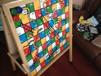 Large wooden easel snakes & ladders / noughts & crosses
