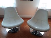 Ikea leather swivel chair with chrome base