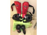 Boxing gloves shin pads head protections Kids 24.99