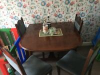 VINTAGE DROP LEAF DINING TABLE AND FOUR CHAIRS
