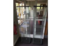 Glass display cabinets two off.