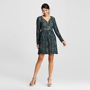 Dark Green Lace Overlay dress from Target
