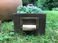 INDUSTRIAL METAL FILING DRAWER / PLANTER garden office storage vintage