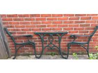 Cast iron garden high back bench ends (x 2 sets) and cast iron table ends