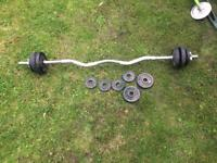 Iron curling bar and weights