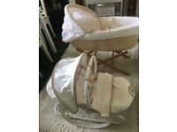 Matching Moses basket and rocking vibrating chair