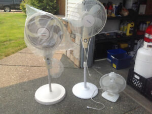 (2) pedestal fans (1) table top fan
