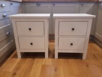 2 x cream bedside tables