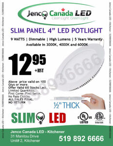"SLIM PANEL LED POTLIGHT - 4"" - DIMMABLE 9W IC RATED"