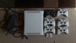 White Xbox 360 120GB HDD, 6 controllers, 52 games sold separate