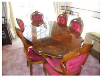Italian style dining table with 6 chairs