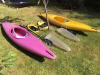 Dag Strim Kayaks, (each with paddle, spray deck, and buoyancy bag)