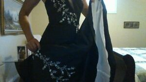 David's Bridal Black Embroidered Halter Bridesmaid Gown
