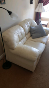 Cream colored Leather couch and loveseat for sale