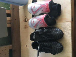 Ladies soccer cleats and shin pads