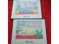 Two Genuine Vintage 1980s Framed Poster Print from Timothy v Birch