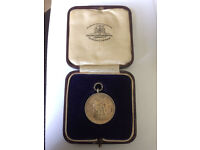 1929 boxing silver medal - boxed - by Goldsmiths and Silversmiths co Ltd London
