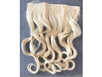 19'' Bleach Blonde Curly One Piece 3/4 Full Head Clip In Hair Extensions Synthetic