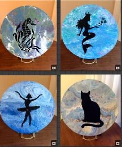 Original art on vinyl record (mermaid, ballerina, seahorse, cat)