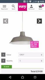 Grey easyfit pendant shades x 3 BRAND NEW