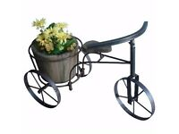 2 x metal tricycle with wooden planter - home garden ornaments and decorations