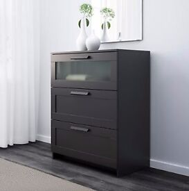 IKEA 'BRIMNES' Chest of 3 Drawers with Frosted Glass, Black - Collection Sheffield