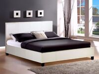 SUPERB QUALITY**50% OFF-- Double Leather Bed Frame With Orthopaedic Mattress--SAME DAY DROP
