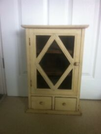 Solid wood shabby chic cabinet with glazed hinged door