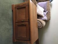 Light oak coffee table and cabinet, excellent condition.