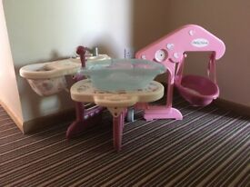 Dolls changing station complete with high chair and bath