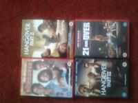 The Hangover Complete DVD Collection Trilogy plus an additional dvd for sale.