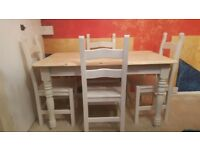 Solid Pine Farmhouse Table and 4 Heavy Oak Chairs- Farrow and Ball