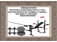 Profitness bench with fly and leg curl plus 50kg Iron weights inc 2 x 10kg plates brand new boxed