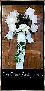 6 Sharon Ivory Double Rose Wedding Pew Decorations With IvoryBlack Ribbons Brand Newin Pontypridd, Rhondda Cynon TafGumtree - 6 Sharon Ivory Double Rose Wedding Pew Decorations With Ivory & Black Ribbons Brand New