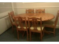 SOLID PINE TABLE + 6 CHAIRS.WIDTH 39 INS .63 INS LENGTH EXTENDS TO 80 INS.£150