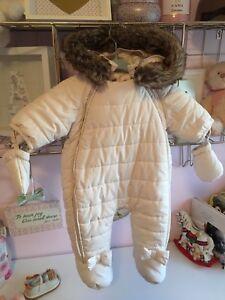 Cream baby snow suit