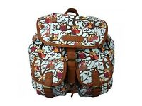 Miss Lulu Canvas Owl Backpack White
