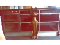 Tall heavy solid wooden cat