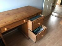 Pine Desk with two filing drawers, a side cupboard and centre drawer