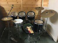 Mapex M Black Drum Kit 6 piece with 3 Paiste Cymbals (2 Crashes plus Ride)