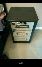 Two mirror front black matte trim bedside cabinets 3 drawer