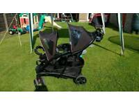 Double buggy pushchair stroller pram graco quattro tour duo
