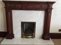 Antique reproduction mahogany wooden fireplace