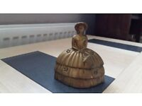 VINTAGE BRASS TABLE HAND BELL CRINOLINE LADY
